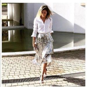 Zara Silver Sequin Ruffled Skirt Large